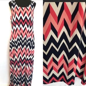 Pink and Navy Chevron Maxi Size Large